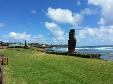The two moai on the coast in Hanga Roa