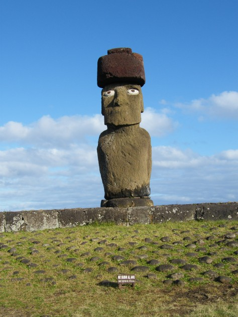 The moai with eyes at Tahai
